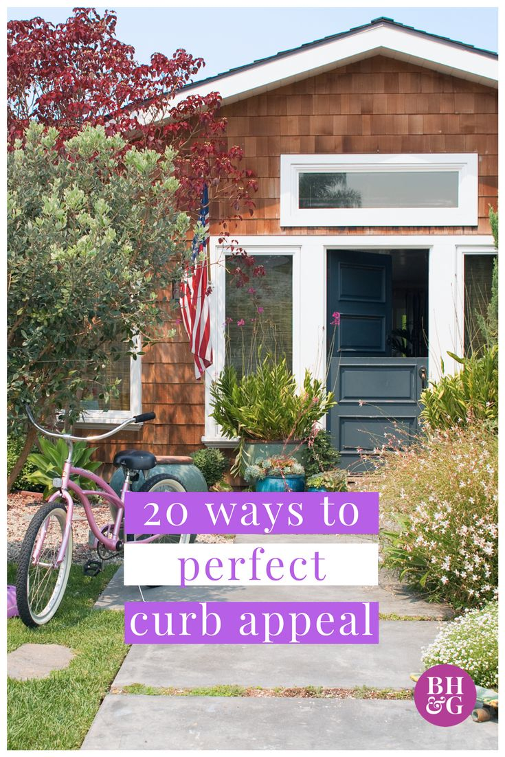 Perk up your home's exterior and add major curb appeal with these simple and easy ideas. One weekend project, such as painting your front door, adding a few plants to your walkway or installing window boxes, can make a huge difference to the exterior of your home. #curbappeal #exterior #frontdoor #windowboxes
