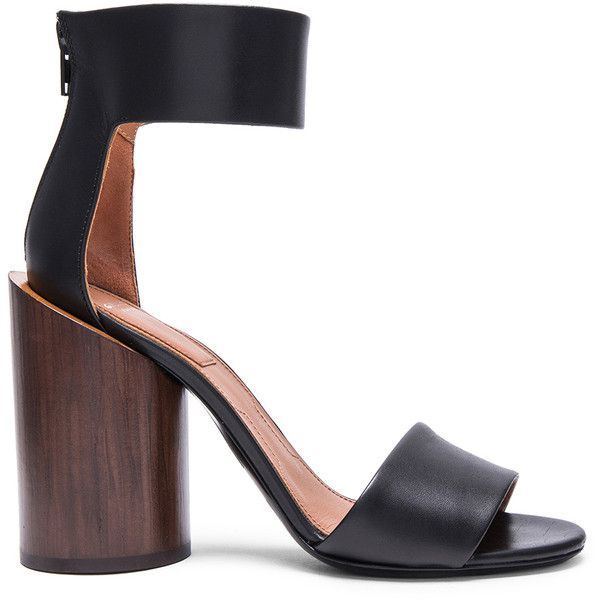 Givenchy Polly Shiny Leather Sandals with Wood Heel (4.675 RON) ❤ liked on Polyvore featuring shoes, sandals, heels, wooden-heel sandals, givenchy sandals, black leather sandals, leather shoes and leather high heel sandals