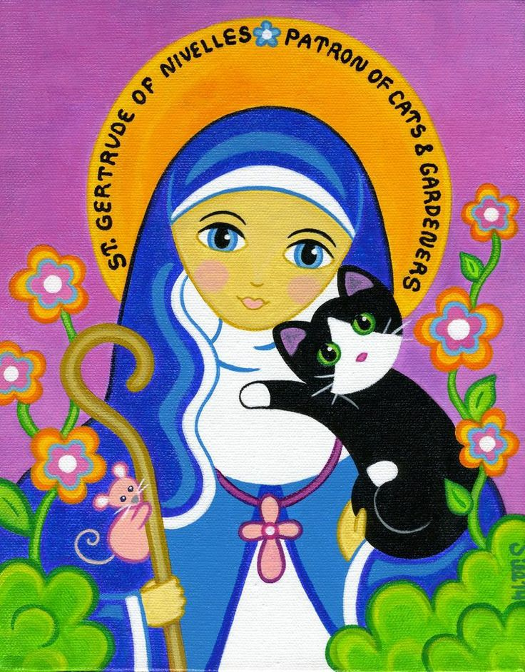 ST. GERTRUDE of Nivelles Patron Saint of CATS Original Folk Art Painting by Jill