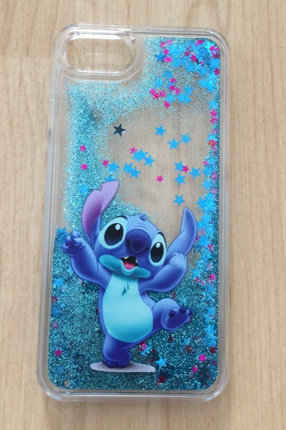 Disney Stitch Bling Sparkle Liquid Glitter Quicksand Case For Iphone 7 Iphone 7 Plus Iphone 8 Ip Disney Phone Cases Iphone Cases Disney Glitter Phone Cases