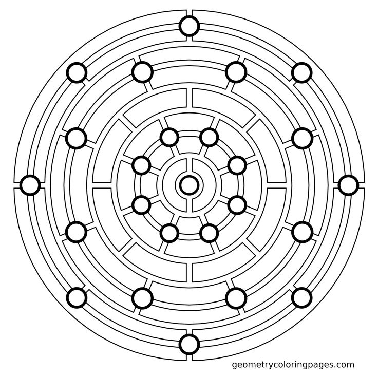 Mandala Coloring Page, Dot Slot from geometrycoloringpages.com