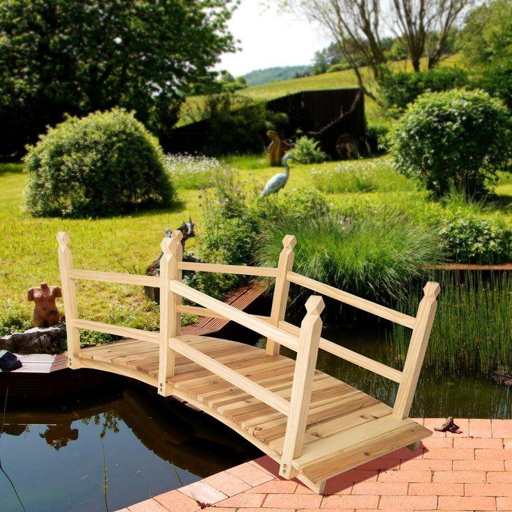 Tectake Pond Bahçe Köprüsü köprü Ahşap geçit yakl. 140cm uzun: Amazon.fr: Bahçe