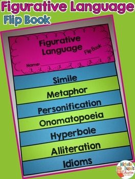 This Flip Book is an awesome tool for students to have at their fingertips. It's hands-on, easy to assemble and fun! It's perfect for teaching and reviewing figurative language: Idioms, Alliteration, Hyperbole, Personification, Simile, Metaphor and Onomatopoeia.   Each page contains a definition and an example. Students can also add a few examples of their own.