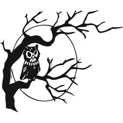 Väggdekor - träd med uggla