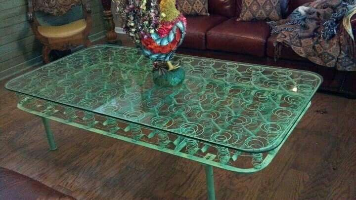 Coffee table from mattress sping. Via JunkyJoey