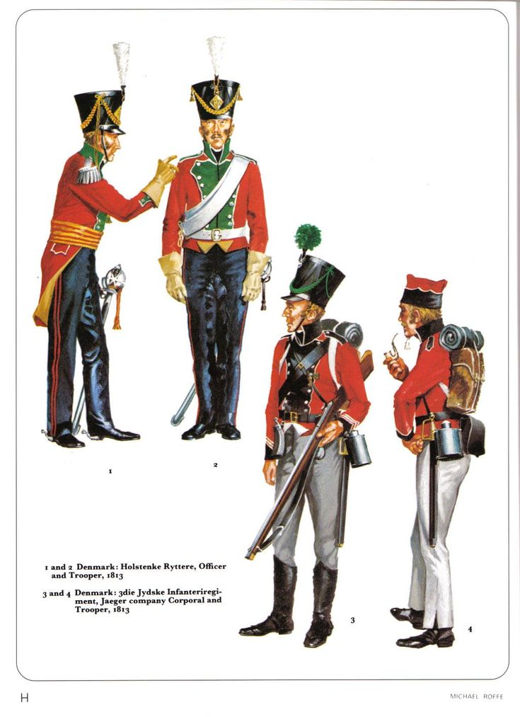 Denmark 1 & 2 Holstenke Cavalry Regiment Officer and Trooper 1813, 3 & 4 3rd Jydske Infantry Regiment Corporal and Chasseur 1813