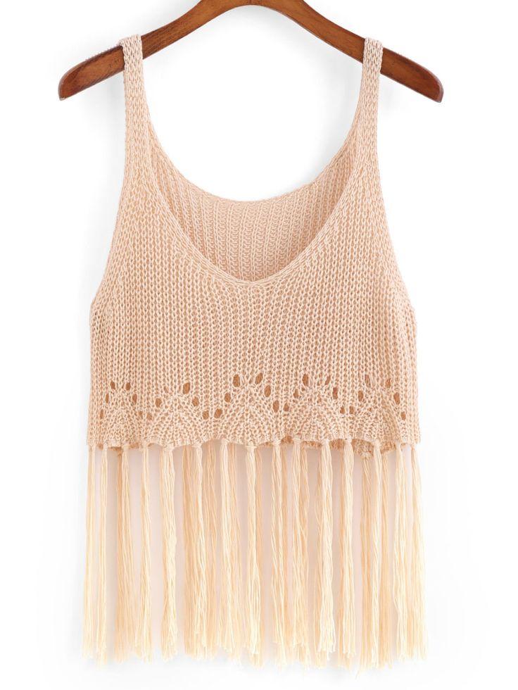 #Spaghetti #Strap Tassel Knit #Apricot #Cami #Top