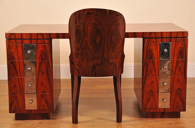 Art Deco desk & chair set in rosewoodChairs Sets, Deco Desks, Desks Chairs, Art Nouveau, Deco Rosewood, Deco Design, Art Deco, Deco Nouveau Stuff, Art Deco Furniture