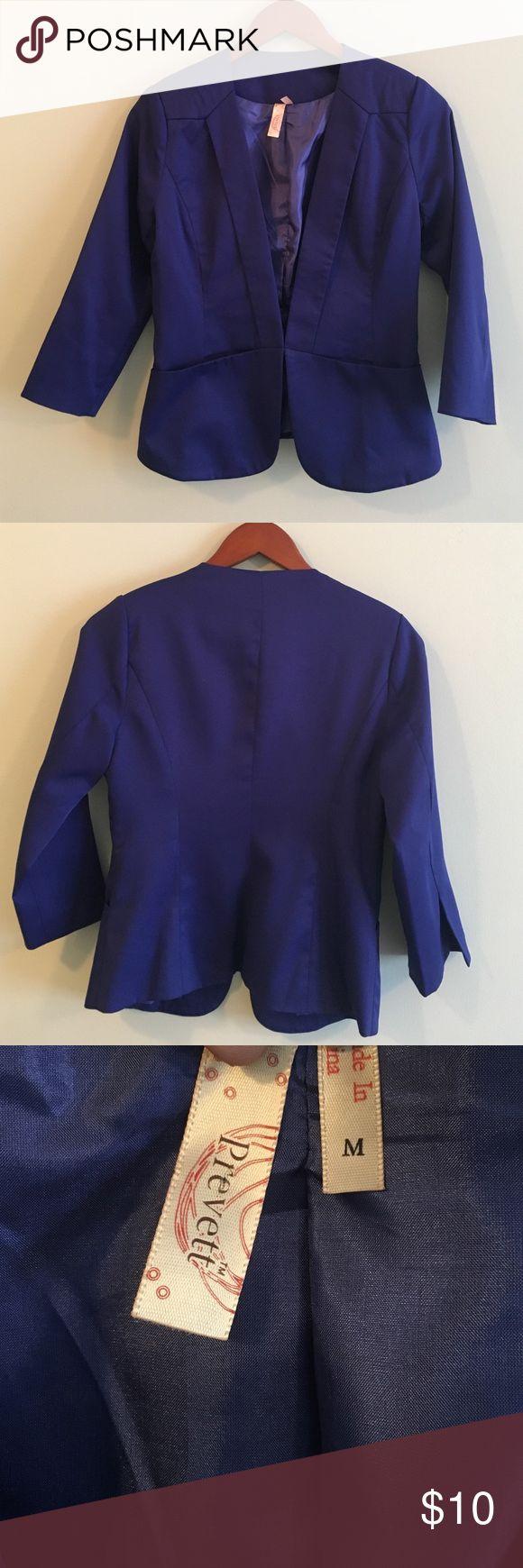 3/4 length sleeve royal blue blazer. Royal blue blazer. 3/4 length sleeve. Size medium. Hook and eye closure. Front pockets. Francesca's Collections Jackets & Coats Blazers