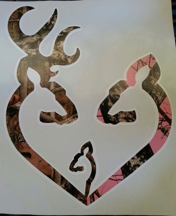 """11"""" Browning style camo and pink camo heart shaped with baby boy decal sticker on Etsy, $13.99"""