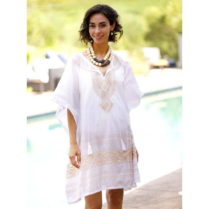 Dia Beach Kaftan - beautiful champagne embroidery on a light and breezy cotton voile. An elegant swimsuit cover up perfect for the beach, boating, and the pool. Comes in two other colorways inspired by the island of Hydra in Greece.