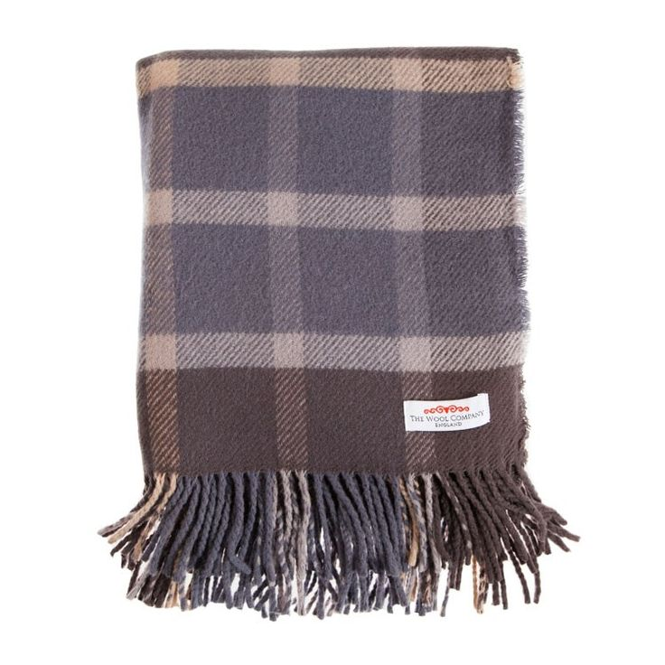 Limited Edition Check Lambswool Throw Soft Wool In Smokey Blue Grey Brown