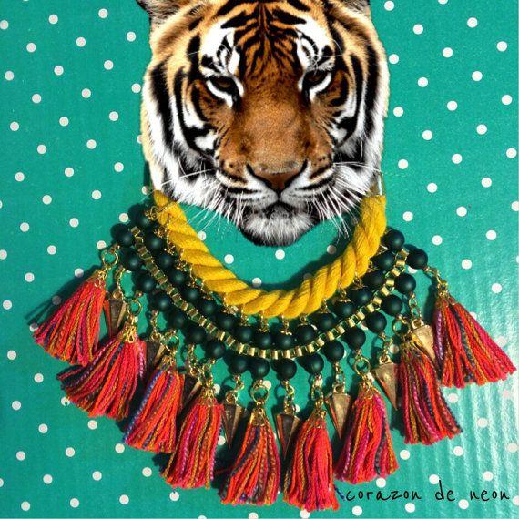 Tassel necklace by corazondeneon on Etsy