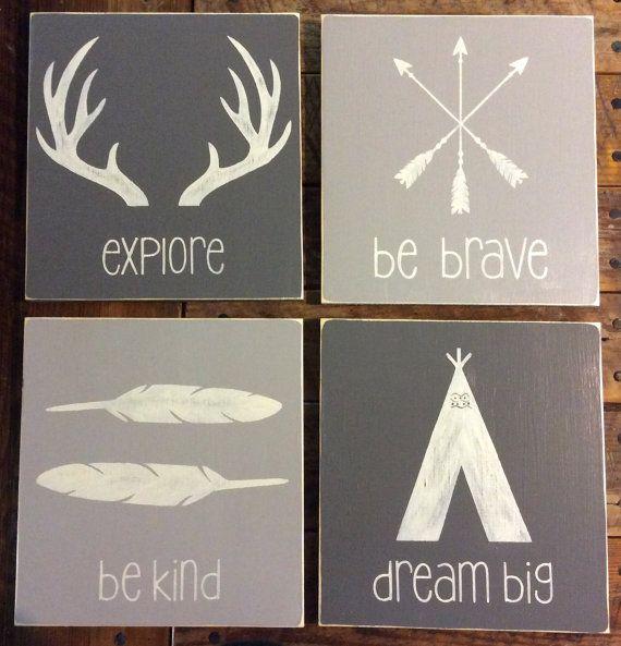 Set of 4|Rustic Tribal Wall Art Decor | Boho | Woodland Nursery | Woodland Decor | Kids Decor | Dream Big | Be Brave | Explore | Be Kind