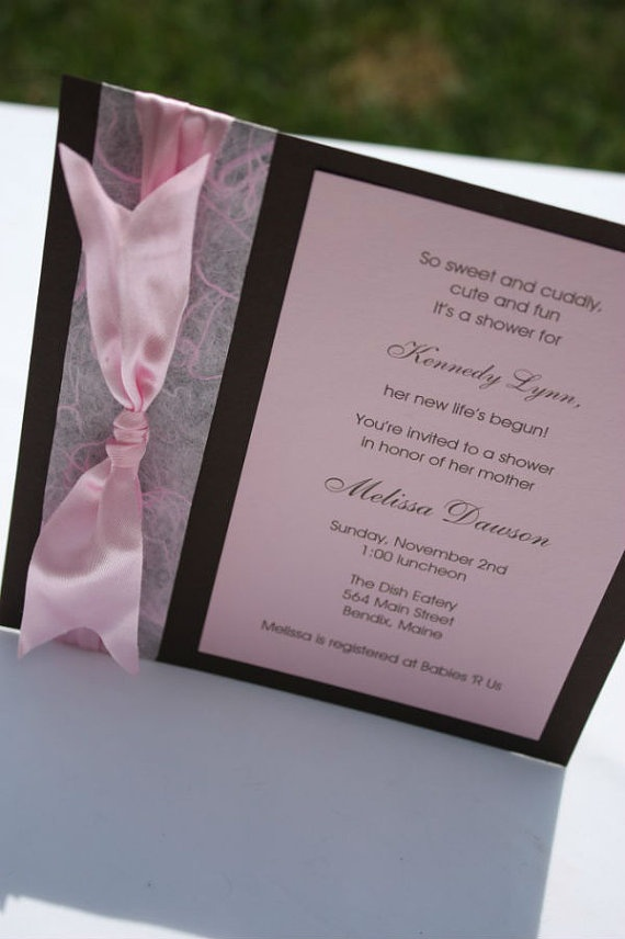 Sweet Pink and Chocolate Brown Handmade by EasyMadeInvitations