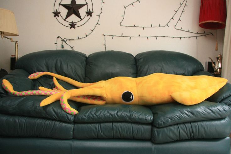 8-foot giant squid pillow. You'll need: 2 yards of felt 1 yard of patterned fabric (I suggest a polka dot-type pattern so it looks like suction cups) 1 medium piece of black felt, 1 medium piece of white felt (for the eyes) white thread, black thread and thread of the same color as the felt you're using pins about 5 lbs. of stuffing a couple big sheets of paper to draw your pattern You can find many of these things down at the many places on Fabric Row, on 4th Street between Bainbridge and…