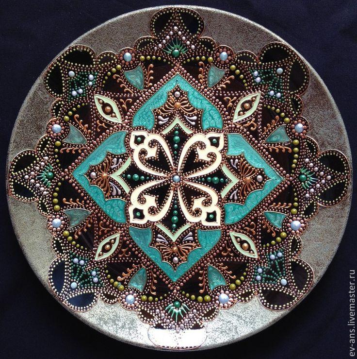 Купить Тарелка декоративная Olive evening - черный, оливковый, зеленый, золотой, тарелка настенная