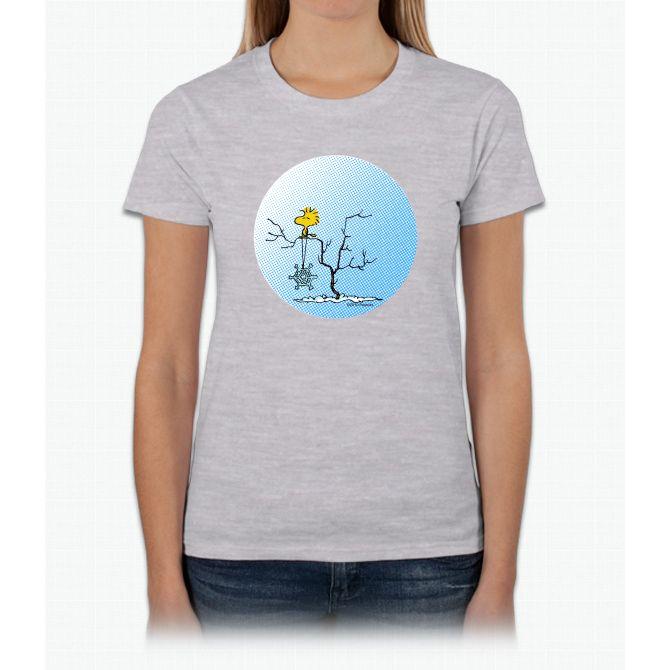 Snowflake Woodstock Charlie Brown Ladies T-Shirt