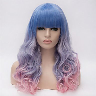 Synthetic Wig Curly Kardashian Style Asymmetrical Capless Wig Blue Rainbow Synthetic Hair Women's Natural Hairline Blue / Pink Wig Long