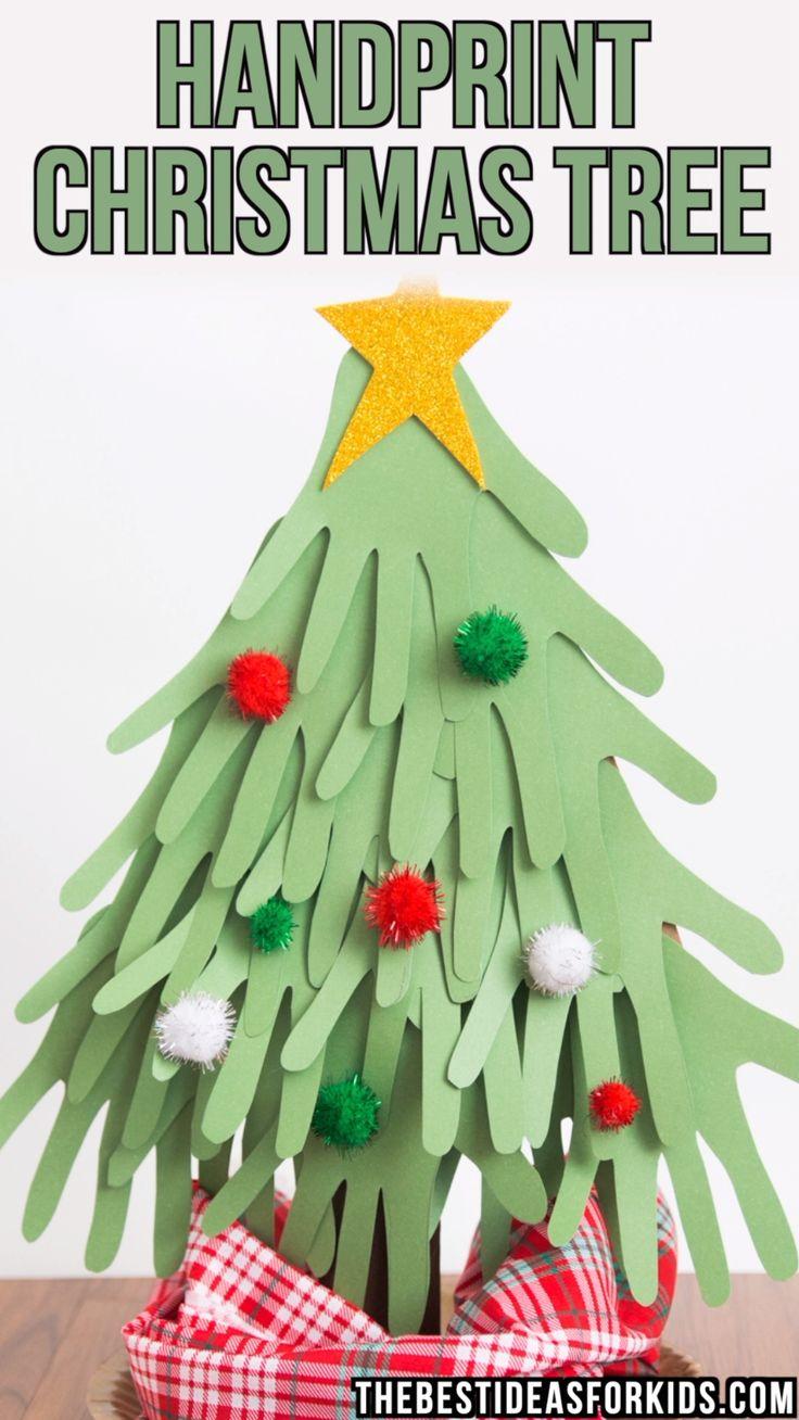 WEIHNACHTSBAUM MIT HANDABDRUCK – dieser Weihnachtsbaum mit Handabdruck ist so süß, dass er mit …   – knutselen kids