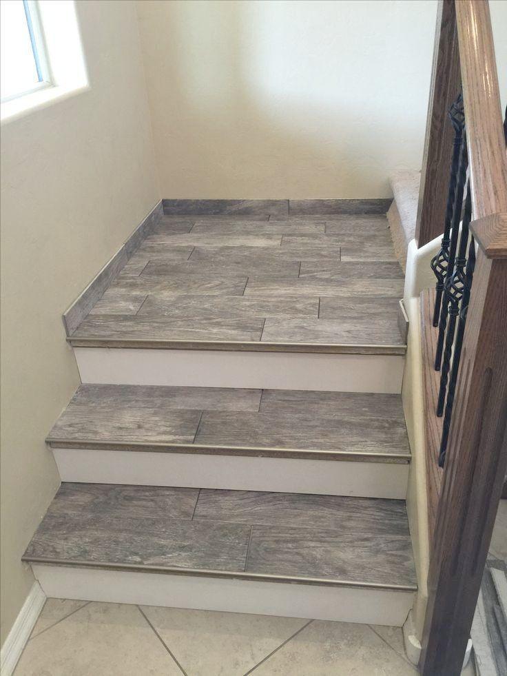 porcelain wood look tile stairs