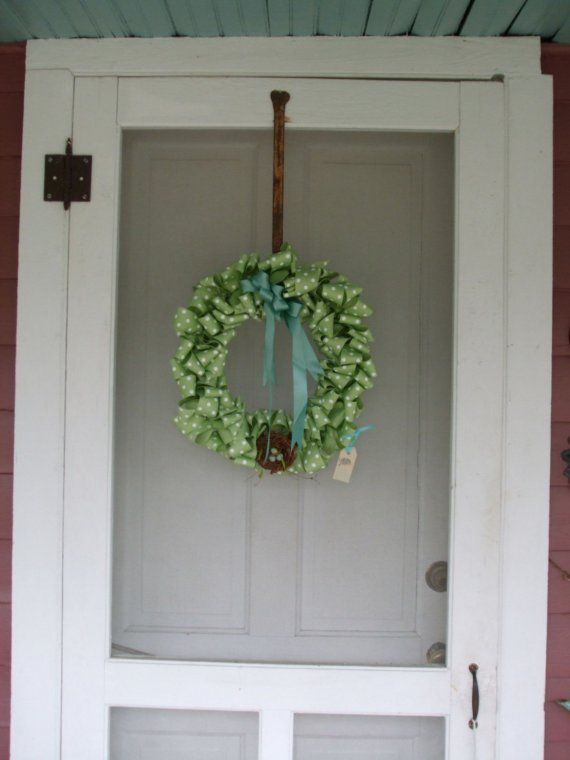 lime green polka dot ribbon wreath: Polka Dots, Lime Green, Ribbon Wreaths