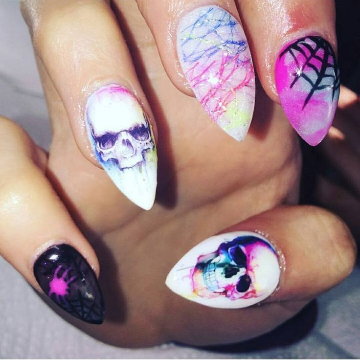 25 beautiful skull nail art ideas on pinterest skull nails diy colourful skull nail art wraps only 89p worldwide shipping prinsesfo Image collections