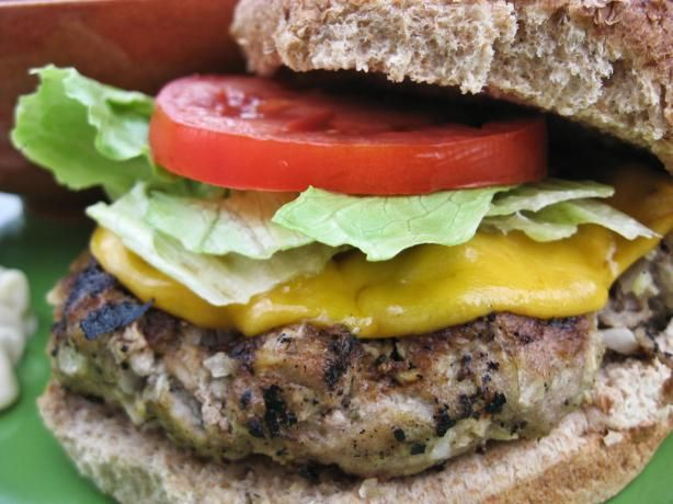 Turkey Apple Burger-			Rachel Ray. I saw this on her show the other day and was so inspired I went out and bought ground turkey breast. It sounds weird to include apples but it makes these REALLY incredible!!! (Try the cranberry mayo idea too--see the recipe instructions!)