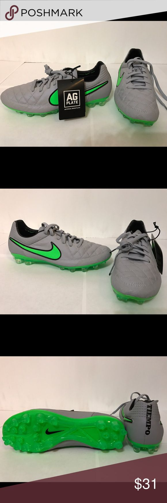 NIKE Soccer Cleats NIKE TIEMPO LEGEND V, Kids Soccer Cleats. Size 6. Color Wolf Gray/ Green/Black. Authentic Nike Tiempo Legend V soccer cleats with HyperShield and ACC technology for the lightest touch. Made for use on artificial turf or grass. Nike Shoes Sneakers