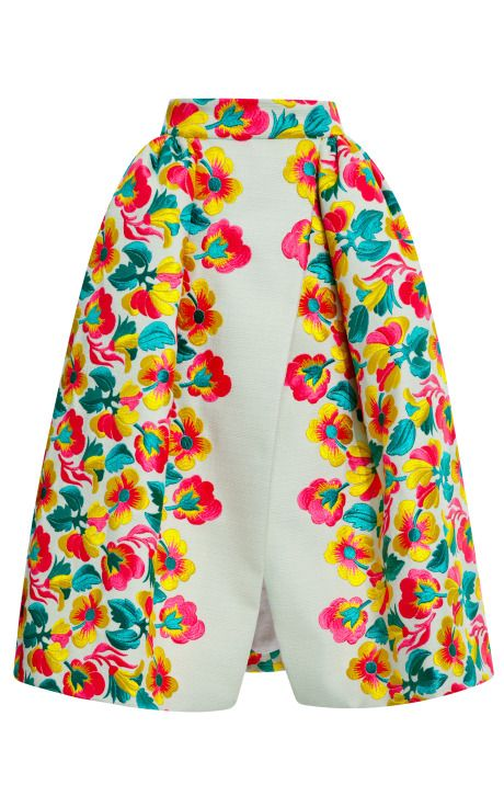 Floral Embroidered Wrap Skirt by DEL POZO #folk #couture #delpozo