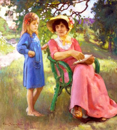 Eero Järnefelt – The artist's wife Saimi Järnefelt and daughter Leena in the garden 1911 (oil) (from On the Shores of the Lake @Restaurantul Neda Ateneum Art Museum, Helsinki)