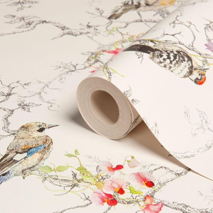 Ornithology Birds Metallic Effect Wallpaper | Departments | DIY at B&Q