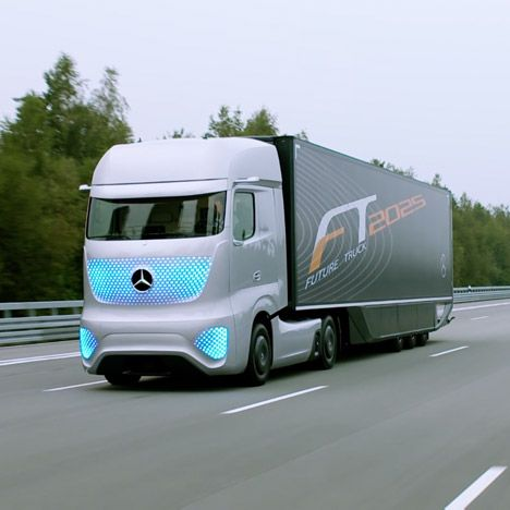 """Mercedes-Benz's self-driving truck set for Europe's roads """"in 10 years""""."""