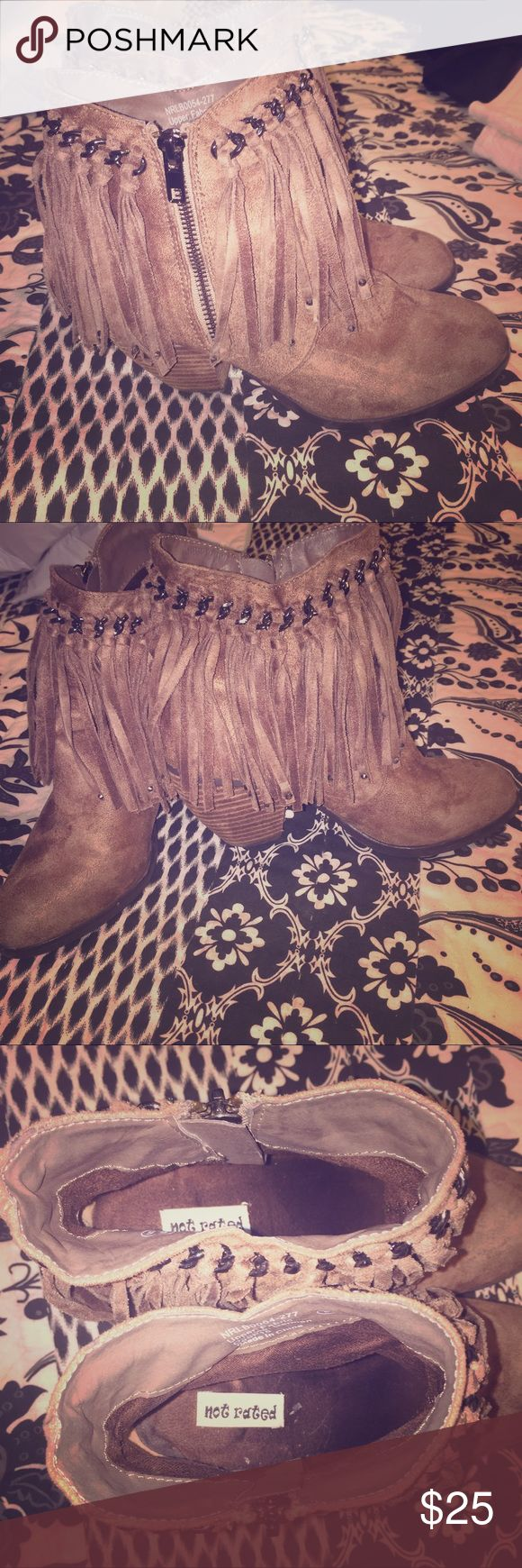 Not Rated Fringe Booties Taupe Not Rated brand fringe booties in excellent condition! Worn only a couple of times! Size 6.5 but I normally wear a 7 so they will fit if you are a 7. Super cute!!! Not Rated Shoes Ankle Boots & Booties