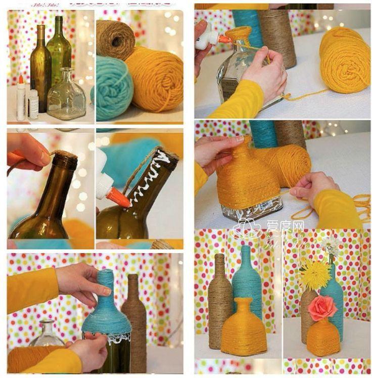 DIY váza: Omotejte skleněnou láhev provázkem či vlnou
