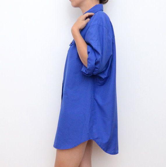 Robe Vintage chemise oversize bleu royal par ZvezdanaVintage