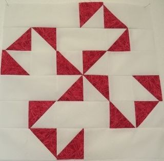 I have made the Oklahoma Twister quilt block before, but I managed to place one of the half square triangles wrong, so I am writing the pattern again. This time with the triangles all correct, I hope!