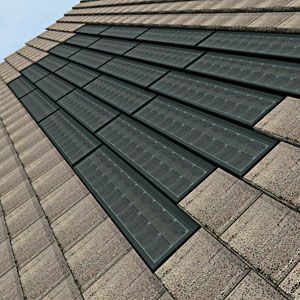 Solar shingles, which blend nicely with this color roof shingles                                                                                                                                                                                 More