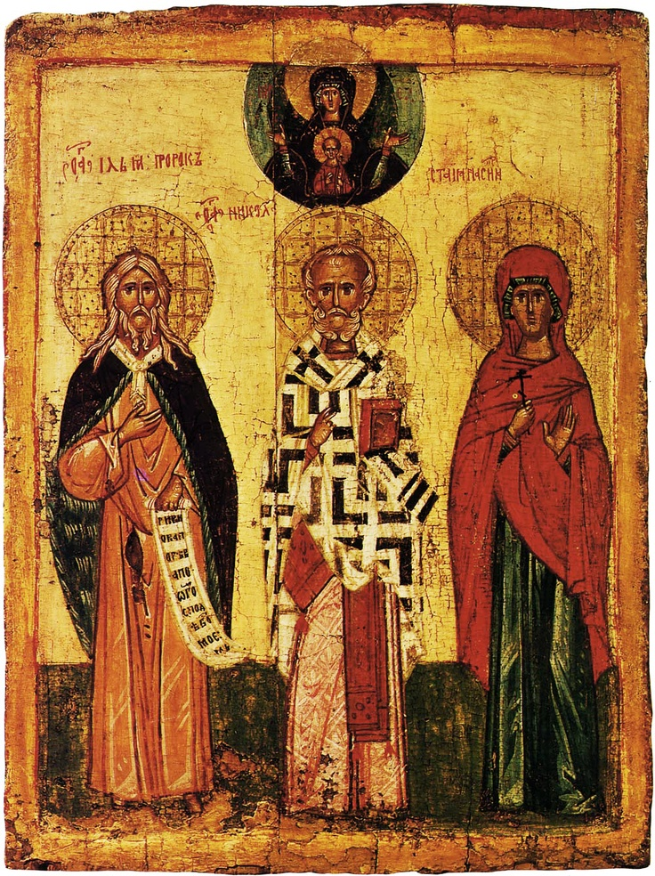 "Virgin of the Sign ""Blacherniotissa"",  Prophet Elijah, Nicholas and Anastasia  15th  66 × 50 cm  Tretyakov Gallery, Moscow, Russia"