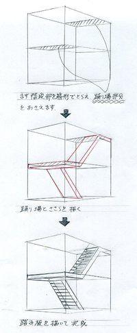 手描きパースの描き方、階段の描き方