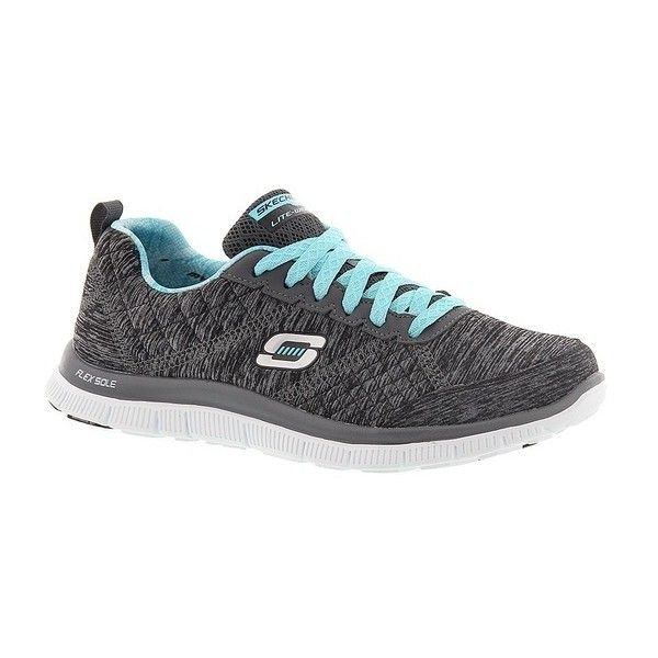 Skechers Sport Flex Appeal-Pretty City ($70) ❤ liked on Polyvore featuring shoes, black, kohl shoes, skechers, skechers footwear, black shoes and skechers shoes