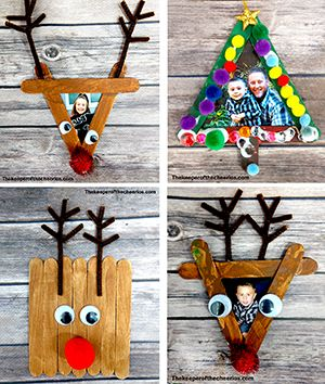 Easy Christmas Craft Stick Photo Frames