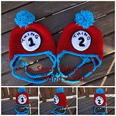 Thing One and Thing Two hat patterns from Dr. Seuss's Cat in The Hat