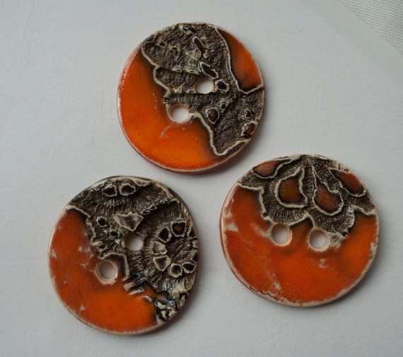 3 orange ceramic buttons with a reflection mosaic by ClayLadyArt