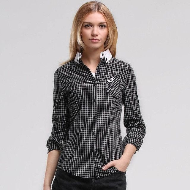 Veri Gude Women's Blouses Slim Fit All-match Pure Cotton Contrast Color Plaid Shirt Free Shipping