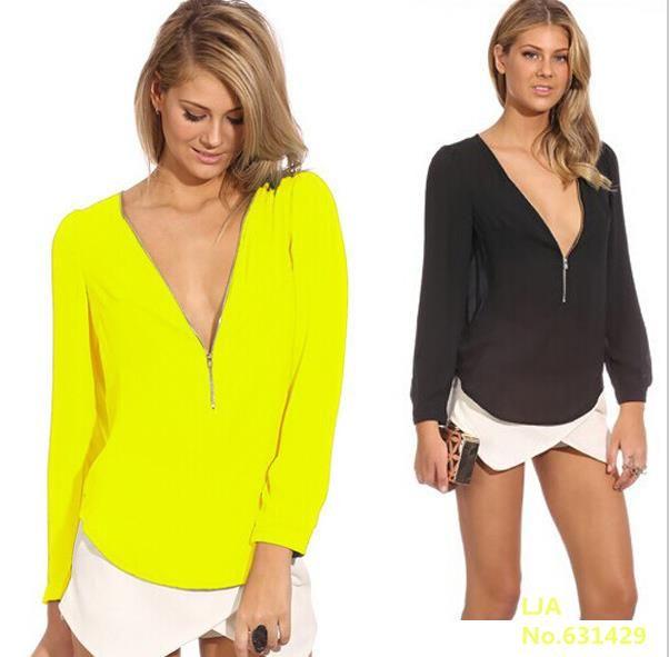 NEW Fashion 2016 Autumn V Neck Long Sleeve Zipper Sexy Chiffon Blouses Women work wear Blusas Femininas Tops 6 Color Solid [Affiliate]