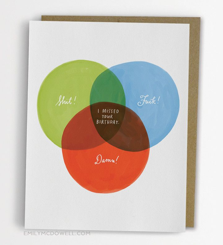funny wedding card messages for friends%0A Funny Belated Birthday Card  Venn Diagram Belated Birthday Card   No