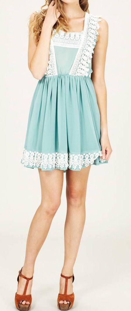 Mint Lace Crochet Dress