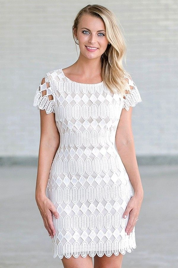 Harlequin Romance Ivory And Beige Lace Sheath Dress Short White Cocktail Dresses Beige Lace Dresses Off White Lace Dress