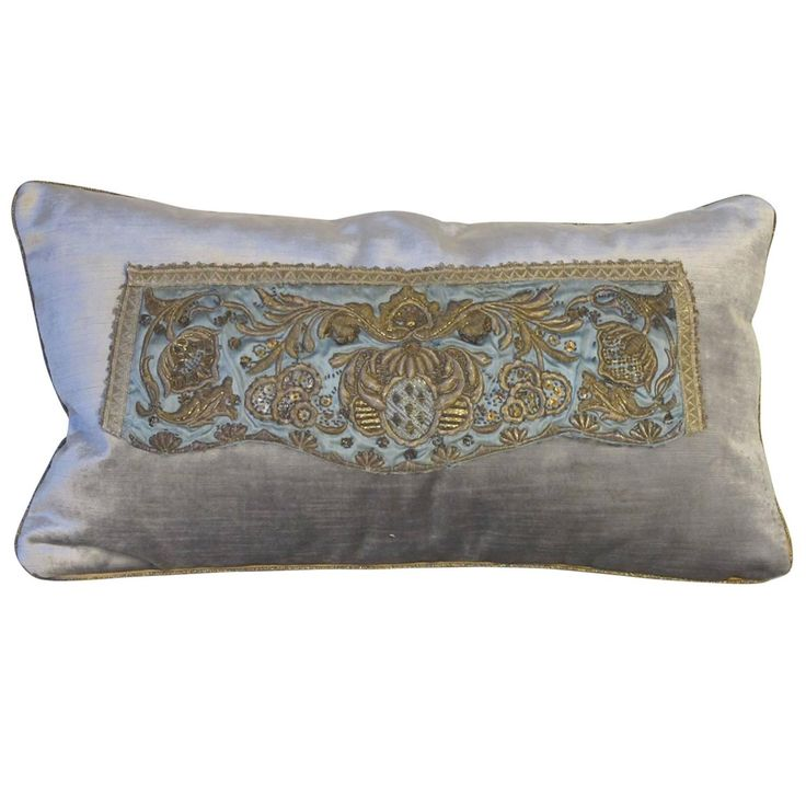 18th Century Embroidery Pillow | From a unique collection of antique and modern pillows and throws at https://www.1stdibs.com/furniture/more-furniture-collectibles/pillows-throws/